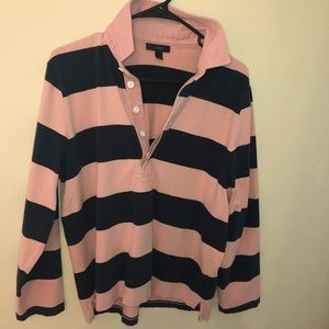 J Crew Blue and Pink Striped Rugby Shirt L